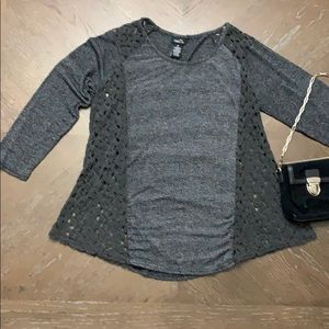3/$30 Gray long sleeve shirt with lace on sides